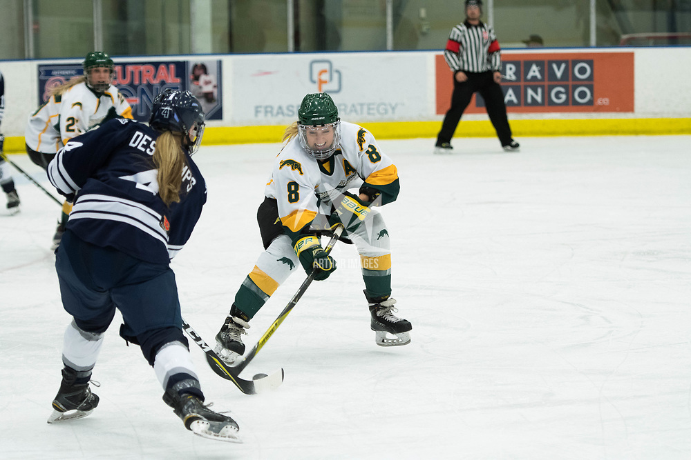 5th year forward Bailey Braden (8) of the Regina Cougars in action during the Women's Hockey home game on October 13 at Co-operators arena. Credit: Arthur Ward/Arthur Images