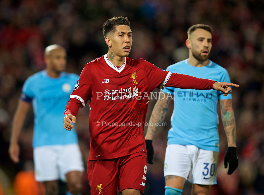 LIVERPOOL, ENGLAND - Wednesday, April 4, 2018: Liverpool's Roberto Firmino during the UEFA Champions League Quarter-Final 1st Leg match between Liverpool FC and Manchester City FC at Anfield. (Pic by David Rawcliffe/Propaganda)