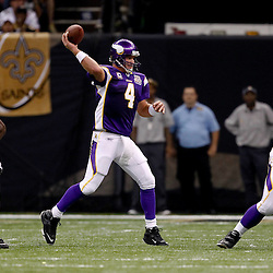 September 9, 2010; New Orleans, LA, USA;  Minnesota Vikings quarterback Brett Favre (4) passes the ball during the NFL Kickoff season opener at the Louisiana Superdome. The New Orleans Saints defeated the Minnesota Vikings 14-9.  Mandatory Credit: Derick E. Hingle