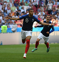 June 30, 2018 - Kazan, Russia - KYLIAN MBAPPE of France celebrates scoring during the 2018 FIFA World Cup round of 16 match between France and Argentina in Kazan. (Credit Image: © Li Ga/Xinhua via ZUMA Wire)