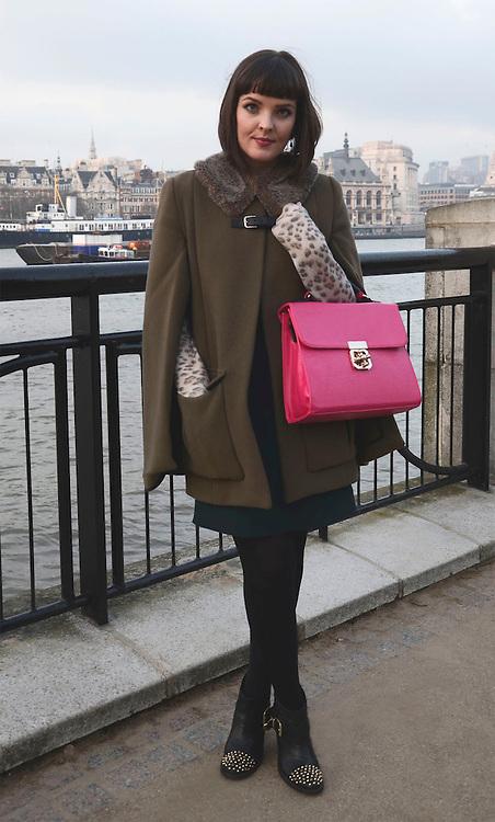Street fashion in London. 17/02/2013 Tabatha Trustam/CatchlightMedia.Lisa Byrne, style: parisian, twitter: @LisaMarieByrne