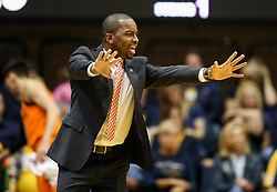Feb 10, 2018; Morgantown, WV, USA; Oklahoma State Cowboys head coach Mike Boynton yells from the bench during the first half against the West Virginia Mountaineers at WVU Coliseum. Mandatory Credit: Ben Queen-USA TODAY Sports