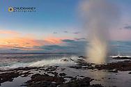 The Spouting Horn at sunrise near Poipu in Kauai, Hawaii, USA