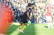 Manchester City striker Sergio Aguero celberates a goal  making it 2-1 during the Premier League match between Burnley and Manchester City at Turf Moor, Burnley, England on 26 November 2016. Photo by Pete Burns.