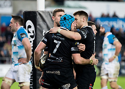 Ospreys' Justin Tipuric celebrates scoring his sides fourth try<br /> <br /> Photographer Simon King/Replay Images<br /> <br /> Guinness PRO14 Round 19 - Ospreys v Leinster - Saturday 24th March 2018 - Liberty Stadium - Swansea<br /> <br /> World Copyright © Replay Images . All rights reserved. info@replayimages.co.uk - http://replayimages.co.uk