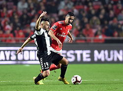 LISBON, Feb. 11, 2019  Andre Almeida (R) of Benfica vies with Joao Camacho of Nacional during the Portuguese League soccer match between SL Benfica and CD Nacional at Luz stadium in Lisbon, Portugal, on Feb. 10, 2019. Benfica won 10-0. (Credit Image: © Xinhua via ZUMA Wire)