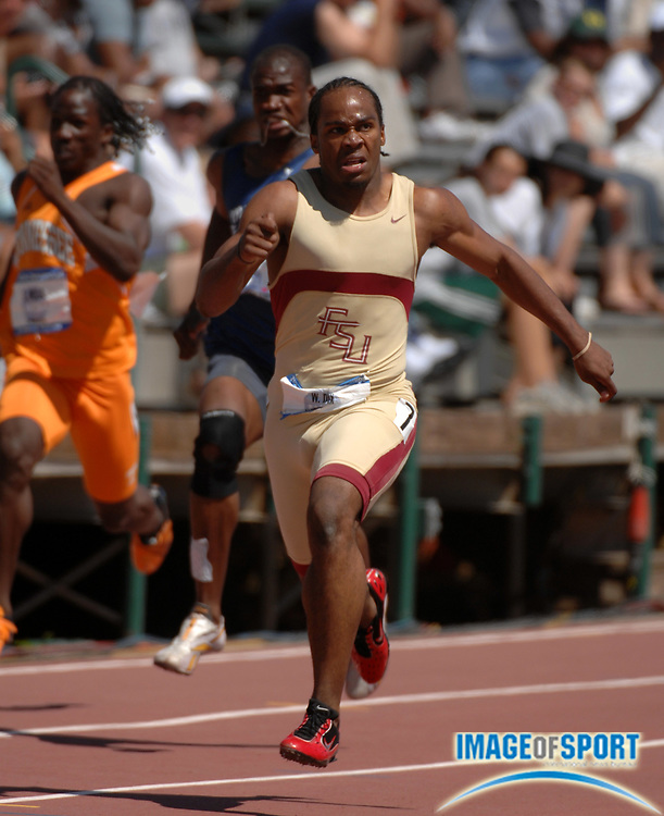 Walter Dix of Florida State won the 200 meters in 20.32 in the NCAA Track & Field Championships at Sacramento State's Hornet Stadium in Sacramento, Calif. on Saturday, June 9, 2007. Dix also won the 100 and ran on winning 4 x 100 relay to become the first athlete since John Carlos to accomplish the triple.