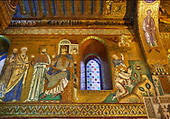 Medieval Byzantine style mosaics of the Life of St Paul in the Palatine Chapel, Cappella Palatina, Palermo, Italy .<br /> <br /> If you prefer you can also buy from our ALAMY PHOTO LIBRARY  Collection visit : https://www.alamy.com/portfolio/paul-williams-funkystock/byzantine-art-antiquities.html . Type -    Palatine     - into the LOWER SEARCH WITHIN GALLERY box. Refine search by adding background colour, place, museum etc<br /> <br /> Visit our BYZANTINE MOSAIC PHOTO COLLECTION for more   photos  to download or buy as prints https://funkystock.photoshelter.com/gallery-collection/Roman-Byzantine-Art-Artefacts-Antiquities-Historic-Sites-Pictures-Images-of/C0000lW_87AclrOk