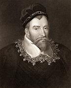 John Maitland, 1st Baron Maitland of Thirlestane (c1545-1595) Scottish statesman. Lord High Chancellor of Scotland; active in establishing the Kirk (Church) as Presbyterian. Engraving.