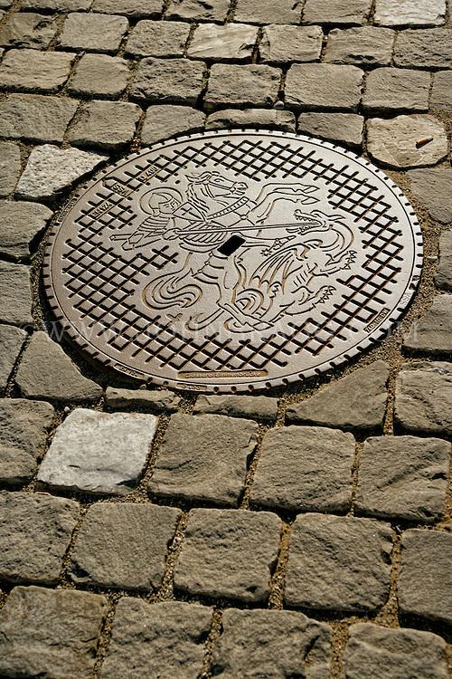 Decorative European Manhole Cover, Stein am Rhine, Switzerland.