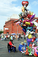 """Colourful  balloons, including one that says """"I love you"""" for sale in Red Square, Moscow.  What was formerly a grim symbol of Soviet dominance, has developed a lighthearted air in recent years."""