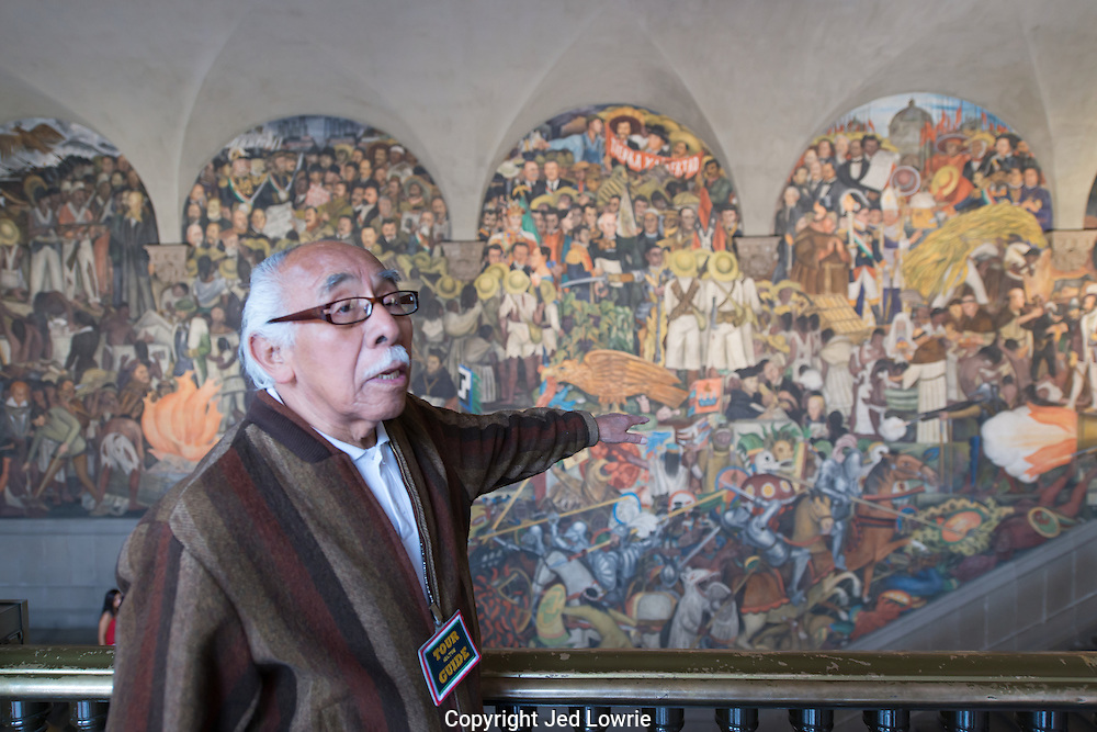 Diego Rivera painted a truly inspiring mural in the National Palace in Mexico City depicting Mexico's history.  Our tour guide was a charismatic fellow and the Mexican coat of arms, an eagle devouring a snake, appears to be appropriately perched on his hand.