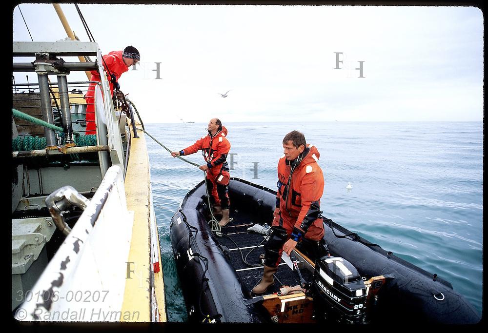 Coast guard men arrive alongside gillnet boat to board it for routine inspection; Faxafloi Bay Iceland