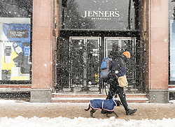 The Beast from the East, Storm Emma hit Edinburgh overnight and has left transport links decimated and many of the shops on the famous Princes Street closed for the day.<br /> <br /> Pictured:  The department store Jenners was unable to open due to the bad weather