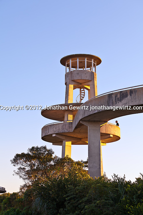 A park visitor on the concrete observation tower in the Shark Valley section of Everglades National Park WATERMARKS WILL NOT APPEAR ON PRINTS OR LICENSED IMAGES.