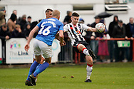 Josh Kelly of Maidenhead United under pressure during the The FA Cup 1st round match between Maidenhead United and Portsmouth at York Road, Maidenhead, United Kingdom on 10 November 2018.