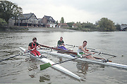"""Putney. London. GREAT BRITAIN;  left to right. Peter HAINING,  Frans GOEBEL and Niall O'TOOLE <br /> 1995 Thames World Sculling Championships, Putney to Mortlake. Championship Course, River Thames.<br /> <br /> [Mandatory Credit; """"Photo, Peter Spurrier/Intersport-images]"""