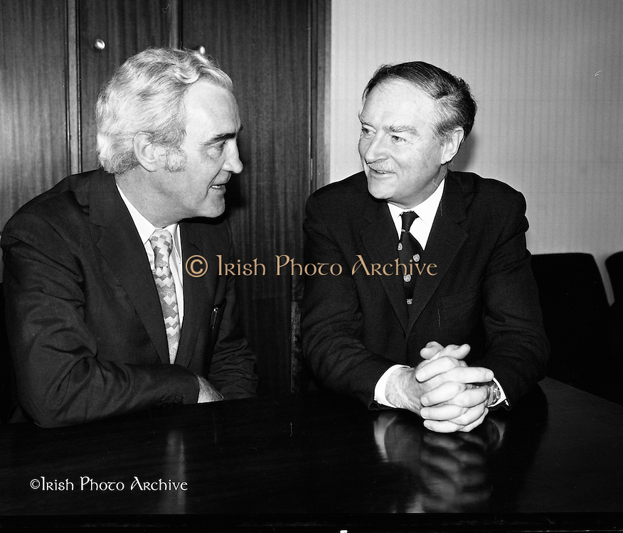 Liam Cosgrave Meets Brendan Corish.<br /> 1973.<br /> 05.03.1973.<br /> 03.05.1973.<br /> 5th March 1973.<br /> With a view to forming a Coalition Government the leaders of the Fine Gael, Mr Liam Cosgrave, and Labour, Mr Brendan Corish are pictured at Leinster House, where they met today. They hoped to formulate a plan to form a coalition to oust the sitting Fianna Fail Government which has held power for sixteen consecutive years.