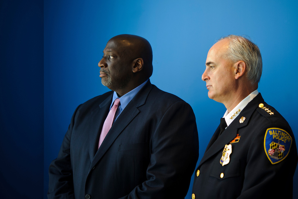 (photo by Matt Roth).Tuesday, April 24, 2012.Assignment ID: 30124682A..Chief Grayling Williams, the Baltimore City Police Department's new chief of internal investigations, left, stands with Police Commissioner Frederick Bealefeld, III is photographed in the Commissioner's office at the Baltimore City Police Department Tuesday, April 24, 2012. He was brought in to clean up after the department's largest scandal to date, which involved the arrest of 17 officers recruited from Puerto Rico for an extortion scheme involving kickbacks from Majestic Auto Repair Shop in Rosedale, Maryland.