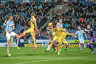 Confusion in the Rotherham box during the Sky Bet Championship match between Huddersfield Town and Rotherham United at the John Smiths Stadium, Huddersfield, England on 15 December 2015. Photo by Mark P Doherty.
