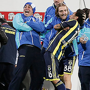 Fenerbahce's Cristian Oliveira BARONI (R) celebrate his goal with team mate during their Turkish Superleague Derby match Besiktas between Fenerbahce at the Inonu Stadium at Dolmabahce in Istanbul Turkey on Thursday, 207 October 2011. Photo by TURKPIX