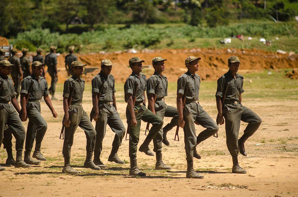 Soldiers march near Nuwara Eliya, Southern Highlands, Sri Lanka