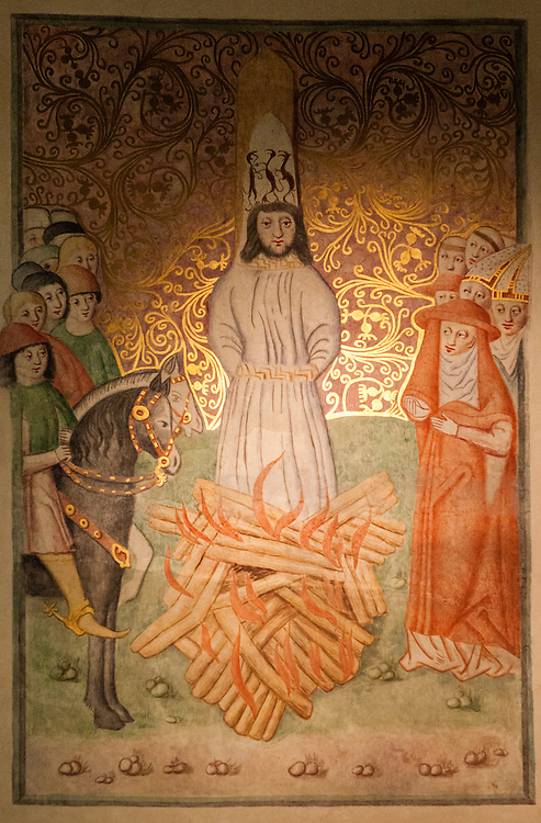 Painting on the inside wall of the Bethlehem Chapel showing Jan Hus being burnt at the stake. The Bethlehem Chapel became very popular because of reformer Jan Hus (John Huss), who preached there from 1402 to 1412.