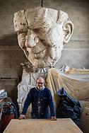 Fabrizio Galli, descendant of crafstmen, portrayed in his hangar inside the Cittadella del Carnevale