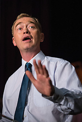 © Licensed to London News Pictures. 16/07/2015. London, UK. Tim Farron speaking at Islington Assembly Hall for his first rally as Leader of the Liberal Democrats after beating Norman Lamb in the contest to succeed Nick Clegg. Photo credit : James Gourley/LNP