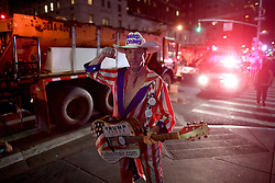 November 9, 2016 - New York, USA - US presidential election night in Times Square, New York. People await the final results on Fox News' screen. The Naked Cowboy (Credit Image: © Aftonbladet/IBL via ZUMA Wire)