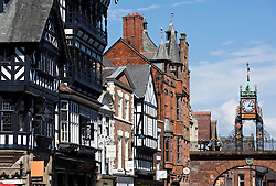 Period buildings and clock on Eastgate Street in Chester Cheshire England 2008