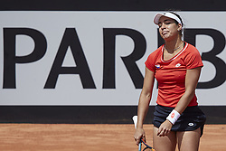 April 21, 2018 - La Manga, Murcia, Spain - Montserrat Gonzalez of Paraguay reacts in his match against  Garbine Muguruza of Spain during day one of the Fedcup World Group II Play-offs match between Spain and Paraguay at Centro de Tenis La Manga Club on April 21, 2018 in La Manga, Spain  (Credit Image: © David Aliaga/NurPhoto via ZUMA Press)