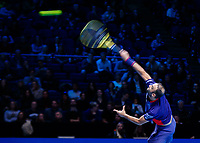 Tennis - 2019 Nitto ATP Finals at The O2 - Day Six<br /> <br /> Doubles Group Max Mirnyi: Juan Sebastien Cabal (COL) & Robert Farah (CAN) Vs. Kevin Krawietz (GER) & Andreas Mies (GER)<br /> <br /> Juan Sebastien Cabal (COL) serving<br /> <br /> <br /> COLORSPORT/DANIEL BEARHAM