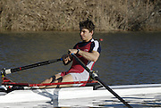 Seville. SPAIN, 18.02.2007, SUI LM1X Benjamin BRUNNER moves away from the start pontoon during Sunday morning's  heats, at the FISA Team Cup, held on the River Guadalquiver course. [Photo Peter Spurrier/Intersport Images]    [Mandatory Credit, Peter Spurier/ Intersport Images]. , Rowing Course: Rio Guadalquiver Rowing Course, Seville, SPAIN,