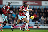Alex Song of West Ham United on the ball. Barclays Premier league match, West Ham Utd v Swansea city at the Boleyn ground, Upton Park in London on Sunday 7th December 2014.<br /> pic by John Patrick Fletcher, Andrew Orchard sports photography.