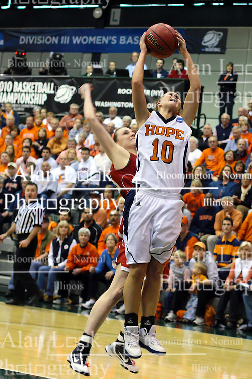 20 March 2010: Jenny Cowen grabs a rebound. The Flying Dutch of Hope College fall to the Bears of Washington University 65-59 in the Championship Game of the Division 3 Women's NCAA Basketball Championship the at the Shirk Center at Illinois Wesleyan in Bloomington Illinois.