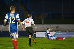 Falkirk's Rory Loy scoring their second goal.<br /> Cowdenbeath 0 v 2 Falkirk, Scottish Championship game today at Central Park, the home ground of Cowdenbeath Football Club.<br /> © Michael Schofield.