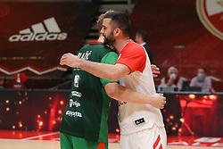 Jaka Blazic of Cedevita Olimpija and Branko Lazic of Crvena Zvezda during basketball match between KK Crvena Zvezda (SRB) and KK Cedevita Olimpija (SLO) in Round #23 of ABA League 2020/21, on April 14, 2021 in Arena Aleksandar Nikolic, Belgrade, Serbia.  Photo by DJK / MN Press / Sportida