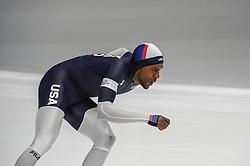 February 23, 2018 - Pyeongchang, Gangwon, South Korea - Shani Davis of United States and Takuro Oda of Japan at 1000 meter speedskating at winter olympics, Gangneung South Korea on February 23, 2018. (Credit Image: © Ulrik Pedersen/NurPhoto via ZUMA Press)
