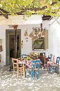 Chairs and tables of rural hilltop cafe, Lesvos, Greece