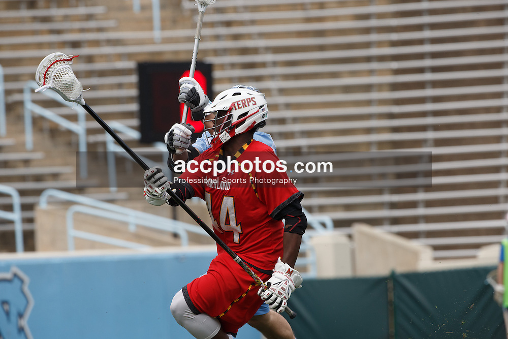 CHAPEL HILL, NC - MARCH 22: Goran Murray #44 of the Maryland Terrapins during a game against the North Carolina Tar Heels on March 22, 2014 at Kenan Stadium in Chapel Hill, North Carolina. North Carolina won 11-8. (Photo by Peyton Williams/Inside Lacrosse)