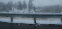 Unseasonable snowy weather along US 550 near the Continental Divide in NW New Mexico, USA  panorama