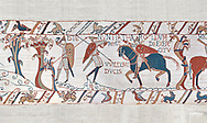 Bayeux Tapestry scene 50:  A saxon watchman warns of the approaching Norman army. BYX50 , BYX50<br /> <br /> If you prefer you can also buy from our ALAMY PHOTO LIBRARY  Collection visit : https://www.alamy.com/portfolio/paul-williams-funkystock/bayeux-tapestry-medieval-art.html  if you know the scene number you want enter BXY followed bt the scene no into the SEARCH WITHIN GALLERY box  i.e BYX 22 for scene 22)<br /> <br />  Visit our MEDIEVAL ART PHOTO COLLECTIONS for more   photos  to download or buy as prints https://funkystock.photoshelter.com/gallery-collection/Medieval-Middle-Ages-Art-Artefacts-Antiquities-Pictures-Images-of/C0000YpKXiAHnG2k