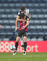 Preston North End's Jordan Storey in action with  Bournemouth's Shane Long<br /> <br /> Photographer Mick Walker/CameraSport<br /> <br /> The EFL Sky Bet Championship - Preston North End v Bournemouth - Saturday 6th March 2021 - Deepdale - Preston<br /> <br /> World Copyright © 2020 CameraSport. All rights reserved. 43 Linden Ave. Countesthorpe. Leicester. England. LE8 5PG - Tel: +44 (0) 116 277 4147 - admin@camerasport.com - www.camerasport.com