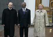 Moscow, Russia, 09/05/2005..Russian President Vladimir Putin and wife Ludmilla greet United Nations Secretary-General Kofi Annan at the Kremlin before the parade in Red Sqaure marking the 60th anniversary of victory in the Great Patriotic War.