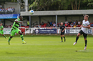 Forest Green Rovers Drissa Traore (4) heads at goal during the Vanarama National League match between Dover Athletic and Forest Green Rovers at Crabble Athletic Ground, Dover, United Kingdom on 10 September 2016. Photo by Shane Healey.