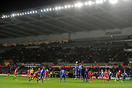 Gareth Bale of Wales takes a free-kick. FIFA World cup 2014 qualifier, group A , Wales v Croatia at the Liberty Stadium in Swansea, South Wales on Tuesday 26th March 2013. pic by Andrew Orchard, Andrew Orchard sports photography,
