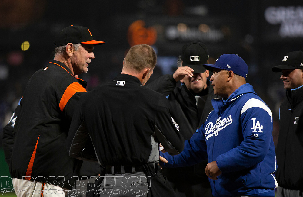 Sep 27, 2019; San Francisco, CA, USA; San Francisco Giants manager Bruce Bochy, left, exchanges lineup cards with Los Angeles Dodgers manager Dave Roberts before a baseball game at Oracle Park. Mandatory Credit: D. Ross Cameron-USA TODAY Sports