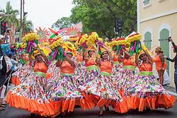 USVI-Phillipines Carnival Troupe.  Carnival 2017 Adults' Parade.  Charlotte Amalie.  St. Thomas, USVI.  29 April 2017.  © Aisha-Zakiya Boyd