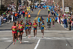 2014 Boston Marathon: winner Rita Jeptoo, Kenya, runs in lead pack